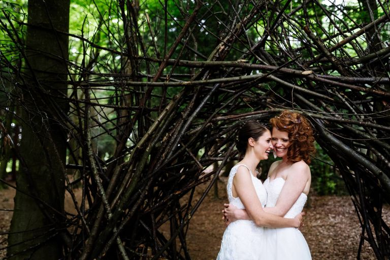 Wilderness wood wedding couple